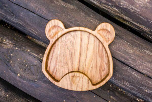 Фотография детской тарелочки Мишка из дуба