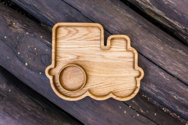 Фотография тарелочки детской из дерева Паровозик