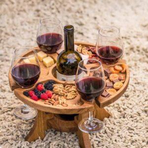 Винный стол на 4 бокала из дуба (круглой формы)