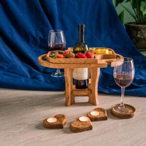 Винный стол на 2 бокала из дуба (разборный*)