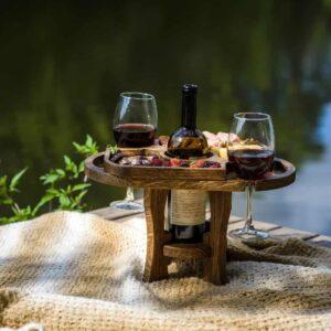 Винный стол на 2 бокала в тёмном цвете из дуба (разборный*)